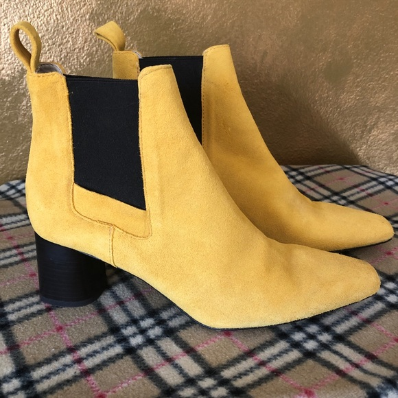 Zara Shoes | Yellow Suede Ankle Boots